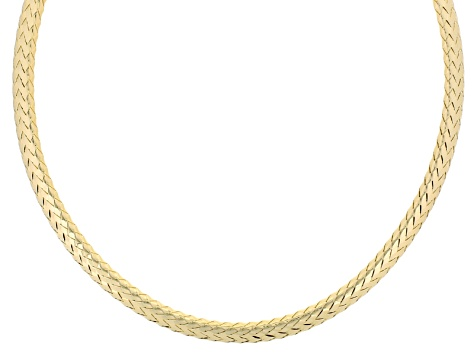 18k Yellow Gold Over Bronze Woven Necklace 18 inch
