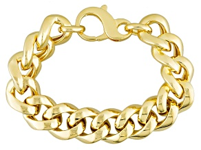 18k Yellow Gold Over Bronze Curb Bracelet 8 inch 17mm