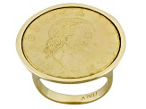18k Yellow Gold Over Bronze 200 Lira Coin Signet Ring