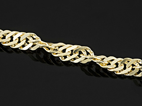 18k Yellow Gold Over Bronze Singapore Chain Necklace