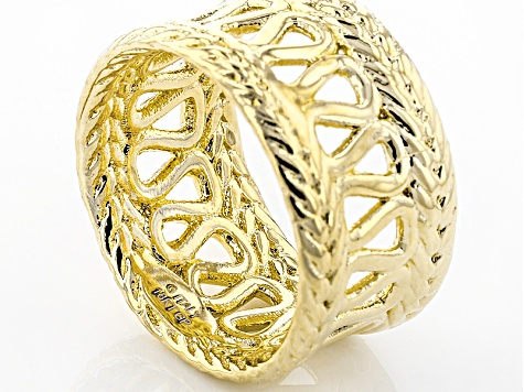 18k Yellow Gold Over Bronze Band Ring