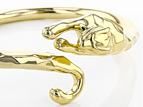 18k Yellow Gold Over Bronze Panther Bangle 7.25 inch