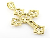 18k Yellow Gold Over Bronze Flower Cross Pendant
