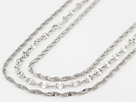 Rhodium Over Bronze Mixed Chain Necklace Set 20 inch