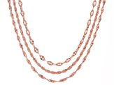 18k Rose Gold Over Bronze Mixed Chain Necklace Set 20 inch