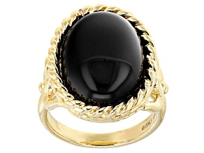 20mm Round Black Onyx 18k Yellow Gold Over Bronze Ring