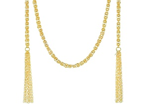 18k Yellow Gold Over Bronze Byzantine Necklace 40 inch