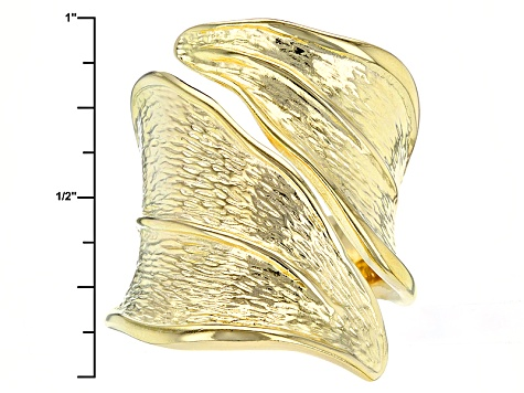 18k Yellow Gold Over Bronze Bypass Ring