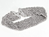 Rhodium Over Bronze Woven Bracelet 7.5 inch
