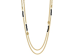 18k Yellow Gold Over Bronze Bead Station Necklace 29 inches
