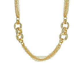 18k Yellow Gold Over Bronze Rolo Station Necklace 32.5 inch