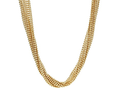 18k Yellow Gold Over Bronze Weave Necklace 24 inch