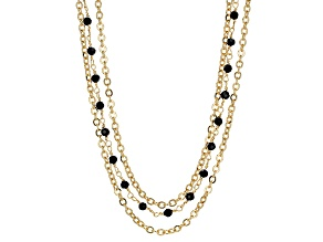 18k Yellow Gold Over Bronze Multi-Strand Station Necklace 22 inch