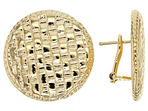 18k Yellow Gold Over Bronze Button Earrings