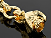 18k Yellow Gold Over Bronze Elephant Head Bracelet 7.5 inch
