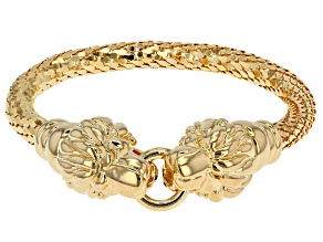 18k Yellow Gold Over Bronze Lion Head Bracelet 7.5 inch