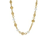 18k Yellow Gold Over Bronze Multi-Link Necklace 33 inch
