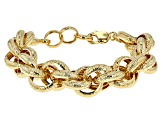 18k Yellow Gold Over Bronze Byzantine Bracelet 9.5 inch