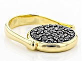 1.41ctw Black Spinel 18k Yellow Gold & Rhodium Over Bronze Lira Coin Flip Ring