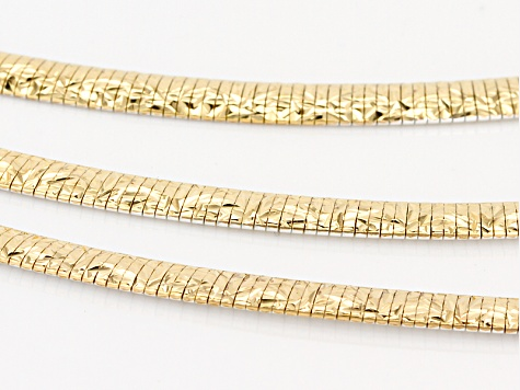 18k Yellow Gold And Rhodium Over Bronze Multi-Strand Omega Necklace