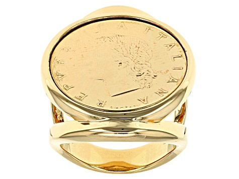 18k Yellow Gold Over Bronze Signet Authentic 20 Lira Coin Ring