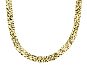 18k Yellow Gold Over Bronze Mesh Necklace 18 inch