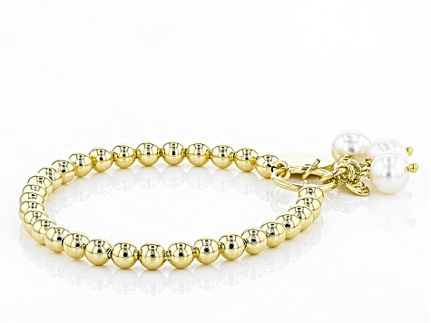 8mm White Cultured Freshwater Pearl 18k Yellow Gold Over Bronze Stretch Bracelet