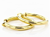 18k Yellow Gold Bronze Polished Clip On Tube Hoop Earrings