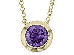 1.5ctw Amethyst Simulant 18k Yellow Gold Over Bronze Necklace 18 inches
