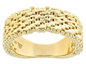 18k Yellow Gold Over Bronze Designer Riccio Ring