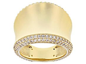 1.06ctw Diamond Simulant 18k Yellow Gold Over Bronze Concave Ring