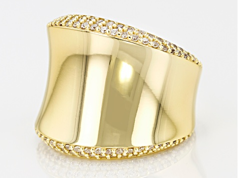 White Cubic Zirconia 18k Yellow Gold Over Bronze Concave Ring 1.06ctw