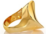 18k Yellow Gold Over Bronze Concave Ring