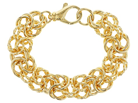 18k Yellow Gold Over Bronze Byzantine Bracelet 8.5 inch