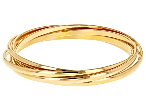 18k Yellow Gold Over Bronze Rolling Bangle Bracelets