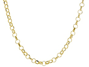 18k Yellow Gold Over Bronze Rolo Chain Necklace 40 inch 5mm
