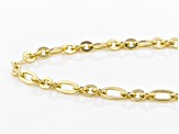 18k Yellow Gold Over Bronze Figaro Chain Necklace 34 inches