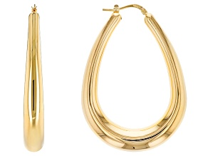18k Yellow Gold Over Bronze Saddle Tube Hoop Earrings