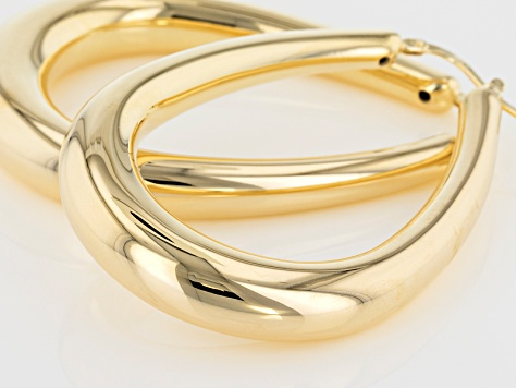 18k Yellow Gold Over Bronze Saddle Tube Hoop Earrings