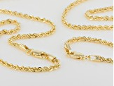 18k Yellow Gold Over Bronze Rope Chain Necklace Set Of Two 18 24 inch