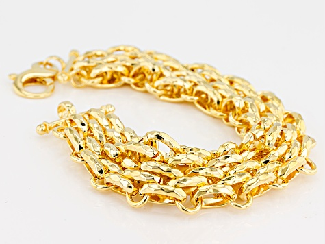 18k Yellow Gold Over Bronze Multi Strand Panther Bracelet