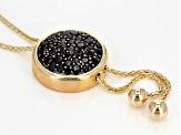 Black Spinel 18k Yellow Gold And Rhodium Over Bronze Lariat Necklace