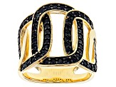 Black Spinel 18k Yellow Gold With Rhodium Over Bronze Curb Ring 1.1ctw