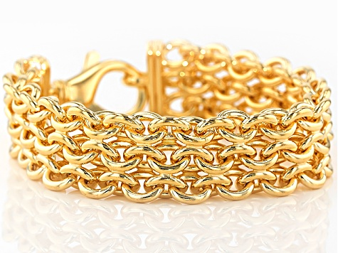 18k Yellow Gold Over Bronze 3 Row Cable Bracelet 8.75 inch
