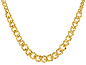 18k Yellow Gold Over Bronze Curb Necklace 18 inch