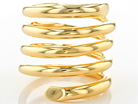 18k Yellow Gold Over Bronze Polished Spiral Ring