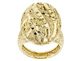 18k Yellow Gold Over Bronze Lattice Oval Ring