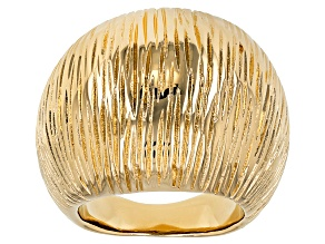 18k Yellow Gold Over Bronze Textured Dome Ring