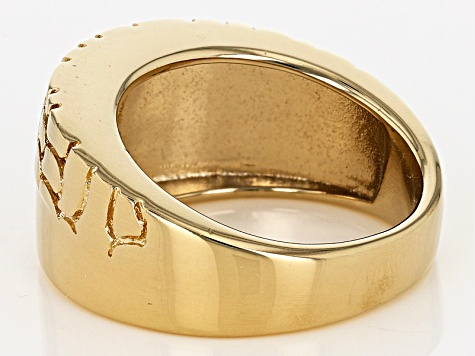 18k Yellow Gold Over Bronze Polished And Textured Band Ring