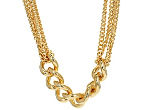 18k Yellow Gold Over Bronze Grande Curb Necklace 20.25 inch